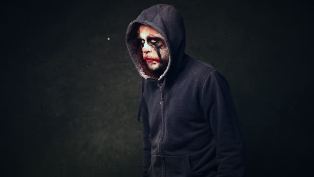 angry halloween clown - hood clothing stock videos and b-roll footage
