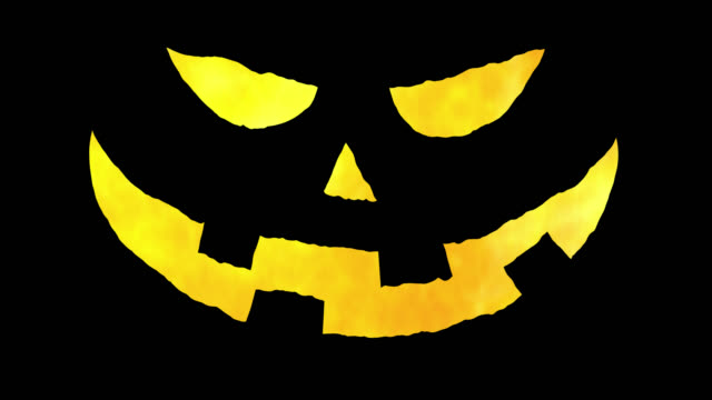 angry halloween pumpkin face in fire. cgi with alpha channel. loop 45 seconds. 16 bit rgba prores 4444. - alpha channel stock videos & royalty-free footage
