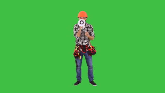Angry Handyman screaming in megaphone