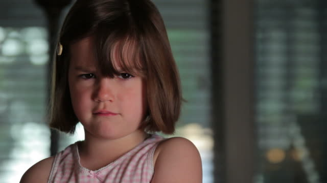 angry little girl - displeased stock videos and b-roll footage