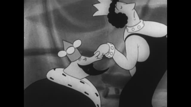 vidéos et rushes de angry queen drags king off stage, away from betty boop - reine monarque