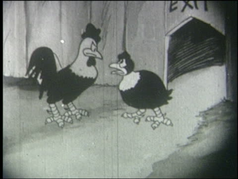 b/w 1927 animation angry rooster slaps sad hen in face - 平手打ち点の映像素材/bロール