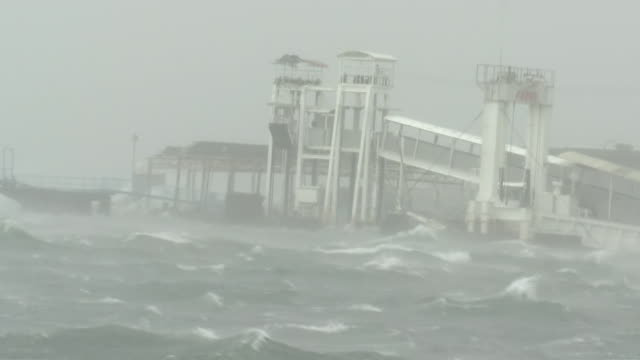 angry sea and ferry terminal, okayama, japan - tall high stock videos & royalty-free footage