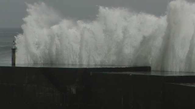 Angry Waves Against Levee, Kagoshima, Japan