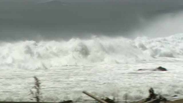 angry waves against shore, kagoshima, japan - coastal feature stock videos & royalty-free footage