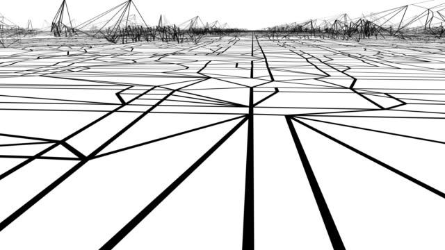 vídeos de stock, filmes e b-roll de angular architectural landscape - arte linear