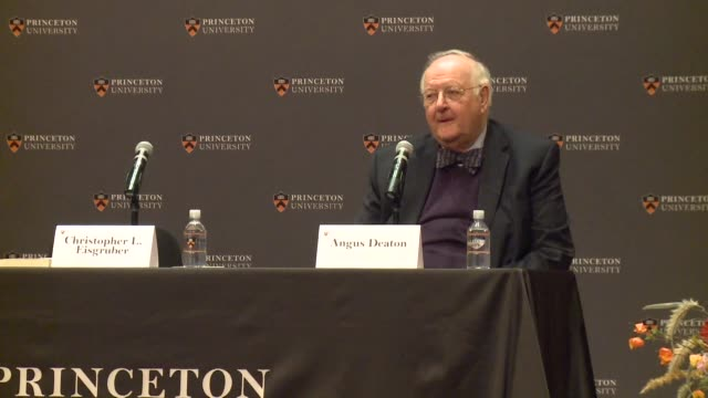 angus deaton a british us professor at princeton university wins the nobel economics prize for groundbreaking work on poverty and promptly warned... - lecturer stock videos & royalty-free footage