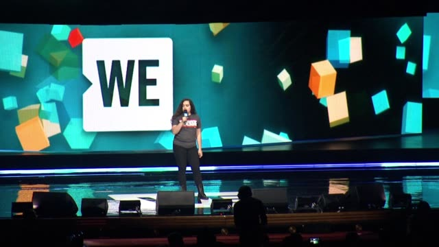 angy rivera on usa citizens' struggles, urges audience to organize for fair treatment of immigrants at we day new york welcome to celebrate young... - radio city music hall stock-videos und b-roll-filmmaterial