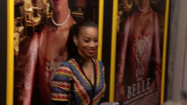 """anika noni rose at """"belle"""" new york premiere arrivals at the paris theater on april 28 2014 in new york city - paris theater manhattan stock videos and b-roll footage"""