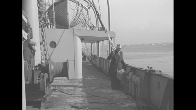 animal collector frank buck walking along deck of the ss tweedbank holding monkey on leash monkey climbs up wall of ship / buck standing in front of... - cage stock videos & royalty-free footage
