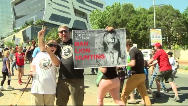 Animal conservation campaigners march in Johannesburg calling on delegates at the Convention on International Trade in Endangered Species to act to...
