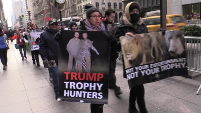 Animal rights groups chant 'Eric Trump Has Blood On His Hands End Trophy Hunting' in front of Trump Tower 5th Avenue