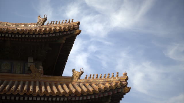 animal statues on traditional roof structure at forbidden city against blue sky - beijing, china - verbotene stadt stock-videos und b-roll-filmmaterial