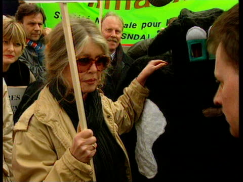 Brigitte Bardot joins demonstration Pig lorry along Brigitte Bardot holding placard amongst animal rights protesters as speaks to press SOT Trying to...