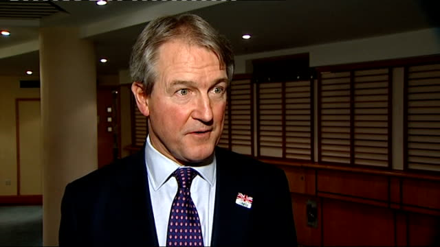 badger culling trials intv owen paterson and brian may int owen paterson mp interview on badger cull sot - owen paterson stock videos and b-roll footage