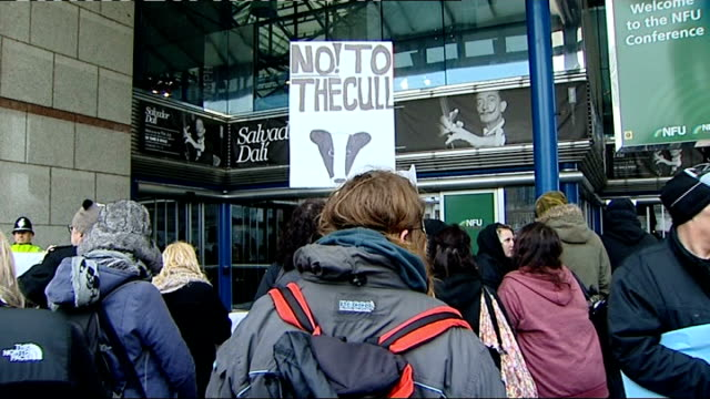 vídeos y material grabado en eventos de stock de two badger culling trials given goahead in south west england england west midlands birmingham ext protesters holding up 'stop the cull' and 'hands... - placard