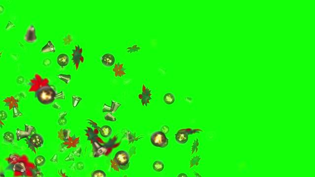 vídeos y material grabado en eventos de stock de decoraciones animadas de navidad en 3d, poinsettia, bola, campana, loopable (serie) - decoración objeto