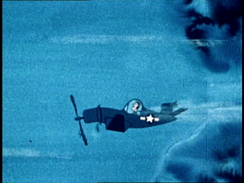 1949 MONTAGE Animated aircraft with crashed tail fins being hit by lightning / Cartoon pilot biting his nails and listening to his engine stalling out / Engine finally quits