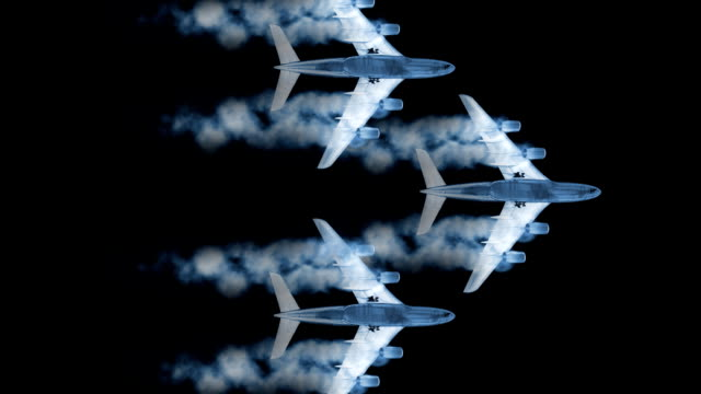 Animated airplanes fly against a black screen.