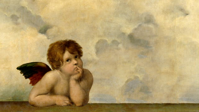 animated angel from raphael painting - art and craft stock videos & royalty-free footage