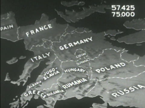 Animated arrow European showing possible exodus numbers from various countries Italy425 Jugoslavia 75 Germany 1000 Hungary 4000 Rumania 984...