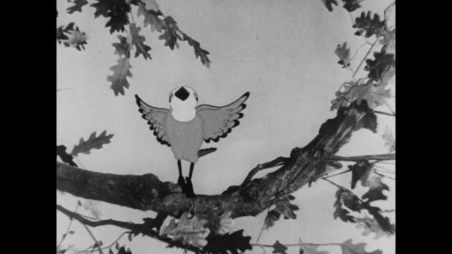 animated bird happily dancing on branch - birdsong stock videos & royalty-free footage