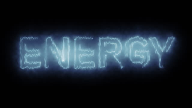 4k animated blue energy text stock video loopable - radioaktive strahlung stock-videos und b-roll-filmmaterial