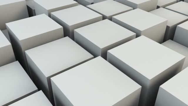 animated boxes background loop - bone white (full hd) - cube stock videos and b-roll footage