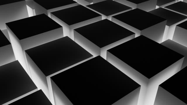 animated boxes loop - illuminated black (fullhd) - cube shape stock videos & royalty-free footage