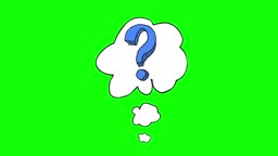 Animated cartoon question mark with thought bubble on green screen. Question mark in retro style. Design for query background, faq, interrogation, quiz, poll. Stock video
