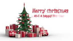 Animated Christmas Greeting Card with Santa Claus and Christmas Tree and Merry Christmas text