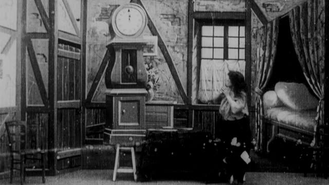 1899 b/w animated clocks reminding cinderella of midnight deadline - 1899 stock videos & royalty-free footage
