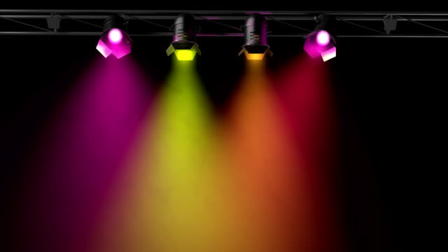 animated colored spotlights (3d, loop) - stage set stock videos & royalty-free footage