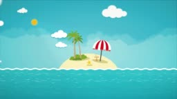 Animated colorful cartoon small tropical island. Background flat motion graphic concept.
