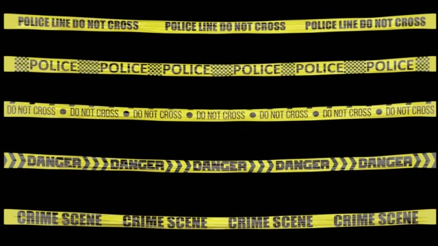 animated cordon tapes with alpha. police line do not cross cordon tape, police cordon tape, do not cross cordon tape, danger cordon tape, crime scene cordon tape - warning sign stock videos & royalty-free footage