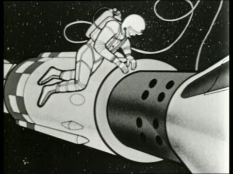 "animated cosmonaut ""walks"" in space by capsule / sound - 1965 stock videos & royalty-free footage"