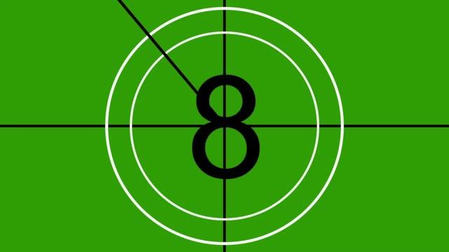 vidéos et rushes de animated countdown (film leader) effect graphic (10 - 0) on greenscreen - pellicule photo