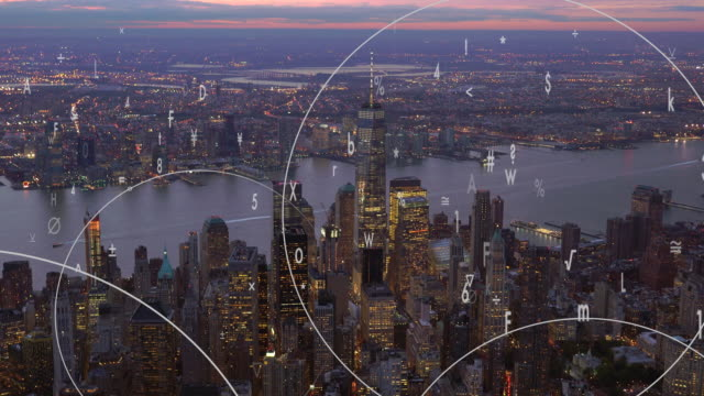animated data numbers stream connected with city skyline background. business networking concept