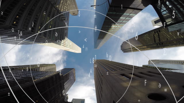 animated data numbers stream connected with city skyline background. business networking concept - directly below stock videos and b-roll footage