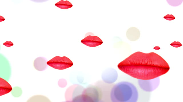 stockvideo's en b-roll-footage met animated floating and kissing lips for backgrounds - menselijke lippen