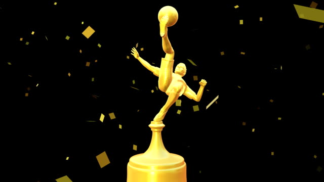 Animated Golden Football Trophy 3D