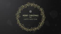 Animated golden hand drawn christmas wreath