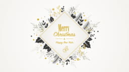Animated golden placard with Christmas ornaments