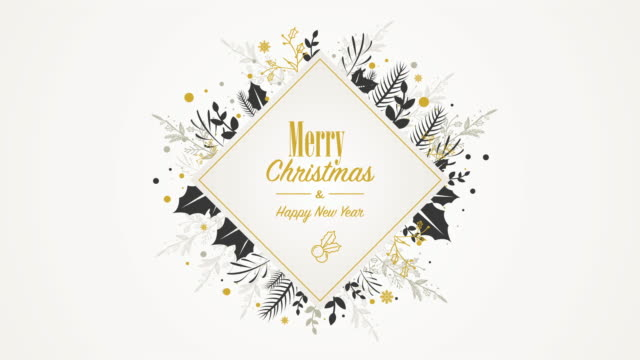 animated golden placard with christmas ornaments - floral pattern stock videos & royalty-free footage