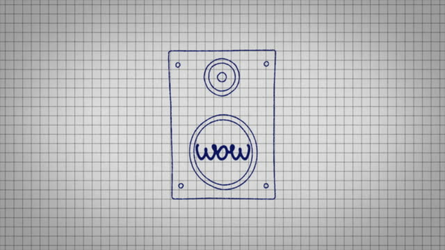 "animated graphic of a music speaker being drawn onto a piece of graph paper with the word ""wow"" in its centre. - graph paper stock videos & royalty-free footage"