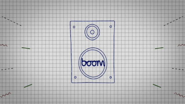 animated graphic of a music speaker being drawn onto a piece of graph paper with the word 'boom' in its centre. - graph paper stock videos & royalty-free footage