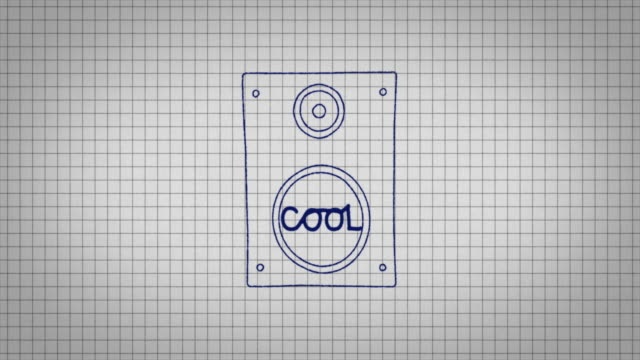 animated graphic of a music speaker being drawn onto a piece of graph paper with the word 'cool' in its centre. - graph paper stock videos & royalty-free footage