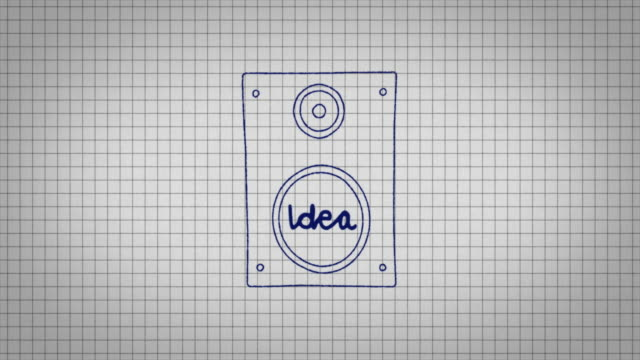 animated graphic of a music speaker being drawn onto a piece of graph paper with the word 'idea' in its centre. - graph paper stock videos & royalty-free footage