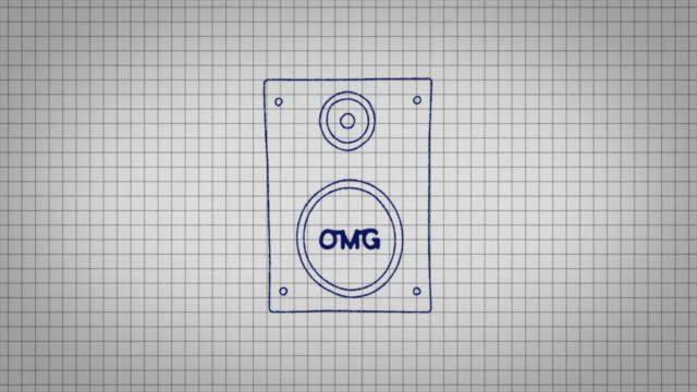 animated graphic of a music speaker being drawn onto a piece of graph paper with the word 'omg' in its centre. - graph paper stock videos & royalty-free footage