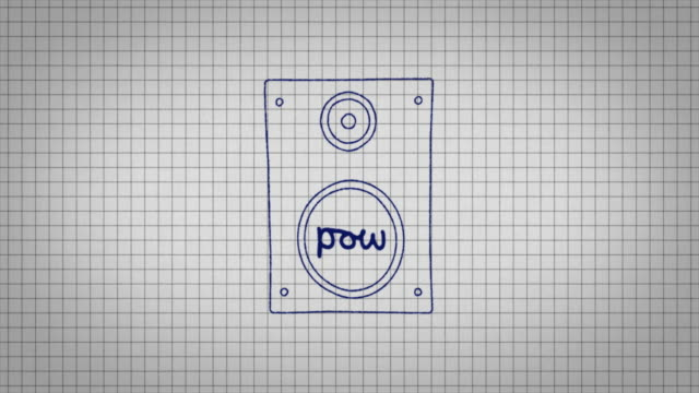 animated graphic of a music speaker being drawn onto a piece of graph paper with the word 'pow' in its centre. - graph paper stock videos & royalty-free footage